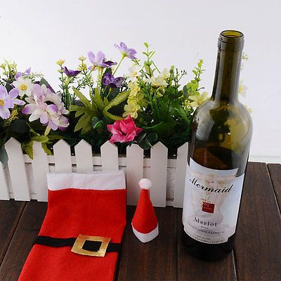 How To Decorate A Wine Bottle For A Gift Details About Christmas Decoration Claus Wine Bottle Cover Wrap