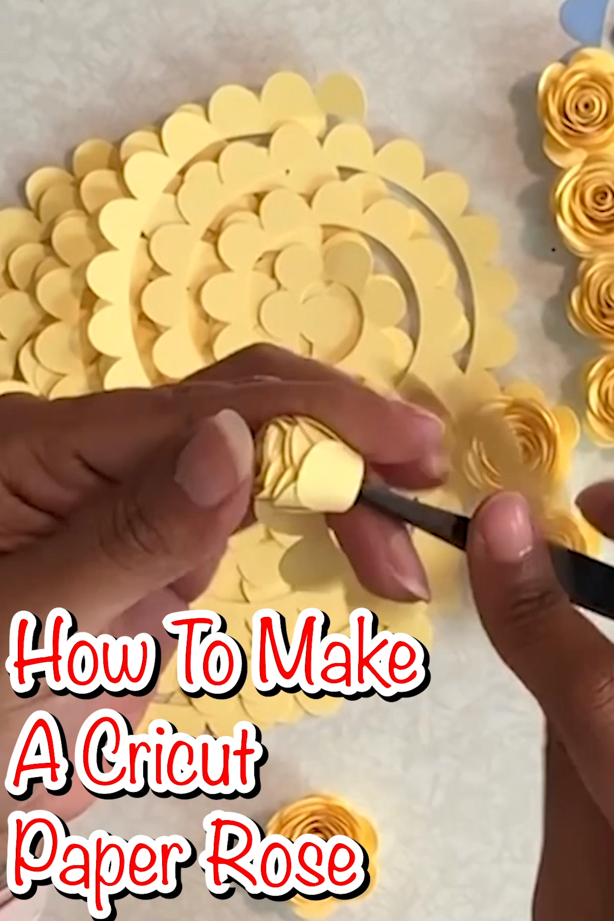 This free paper flower template, coupled with the step by step how to make a paper rose video will teach you how to make a paper rose like a pro. #paperflowers #cricut #cricutmade #freesvgfiles