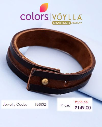 """#Dual #Toned #Bracelet For #Men  #Price : Rs. 149.00  #Jewelry_Code : 186832  #Material : PU Leather"""