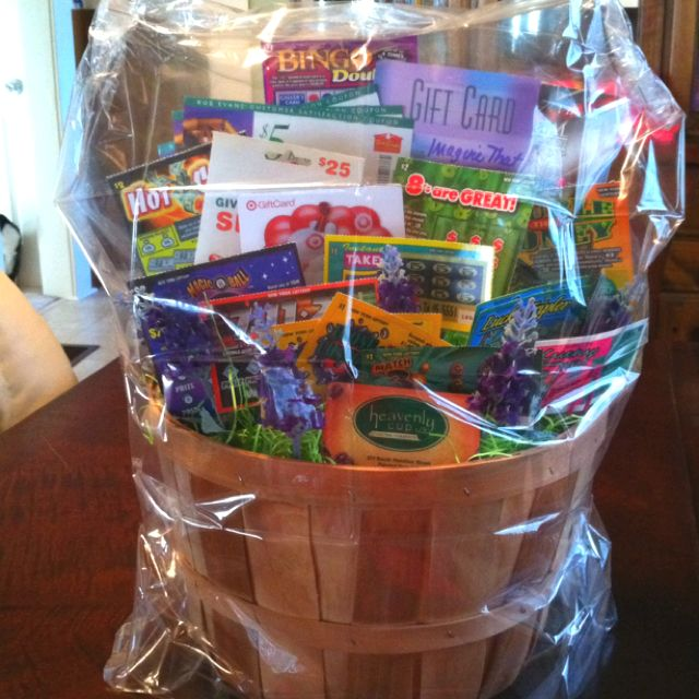 Classroom Raffle Ideas ~ Lottery gift card basket made for my daughters day