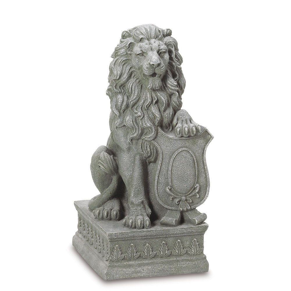 regal lion entryway or garden guardian statue set of 2 | formal