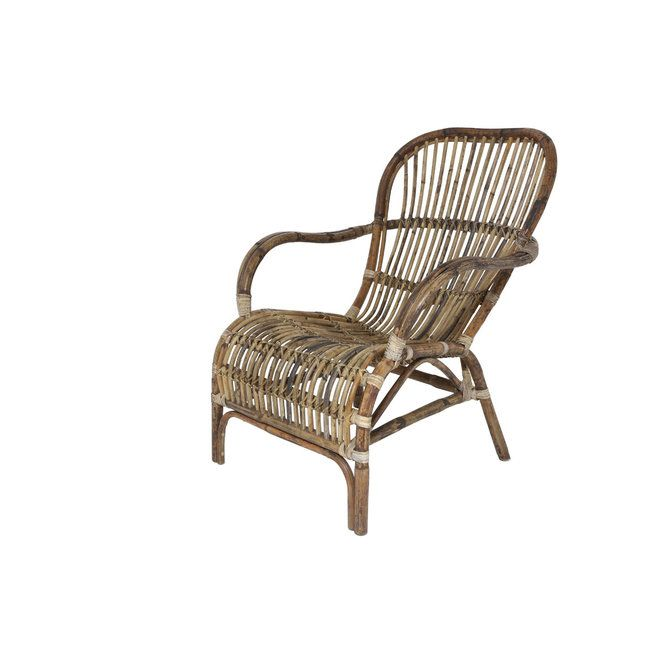 This Beautiful Woven Rattan Chair Features A Distressed Stain Pattern  Combining Dark And Natural Colored Finishes