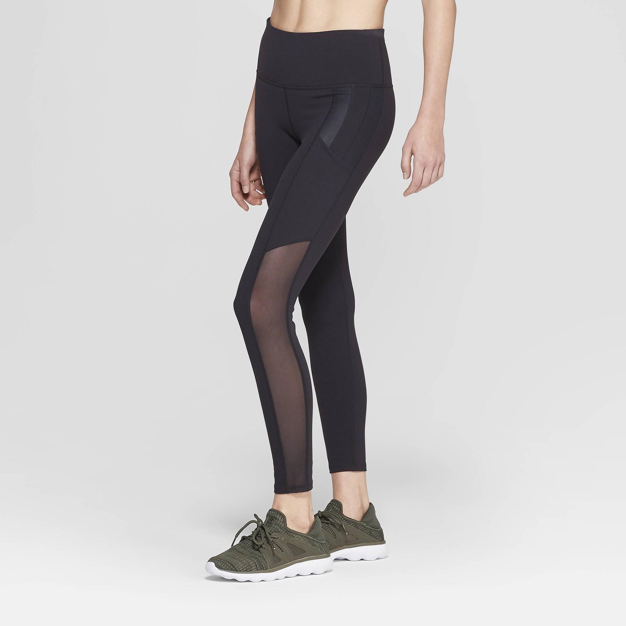 83d7f7de0a7a6 Women's Premium High-Waisted 7/8 Mesh Panel Leggings - JoyLab Black Xxl