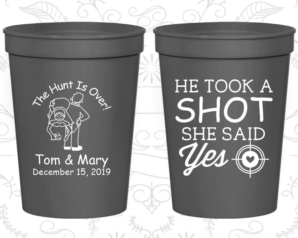 Personalized Plastic Stadium Cups Custom Cup 216 Mason Jar The Hunt Is Over