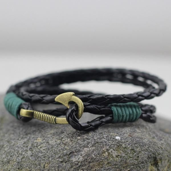 Leather Bracelet with Hook In Black