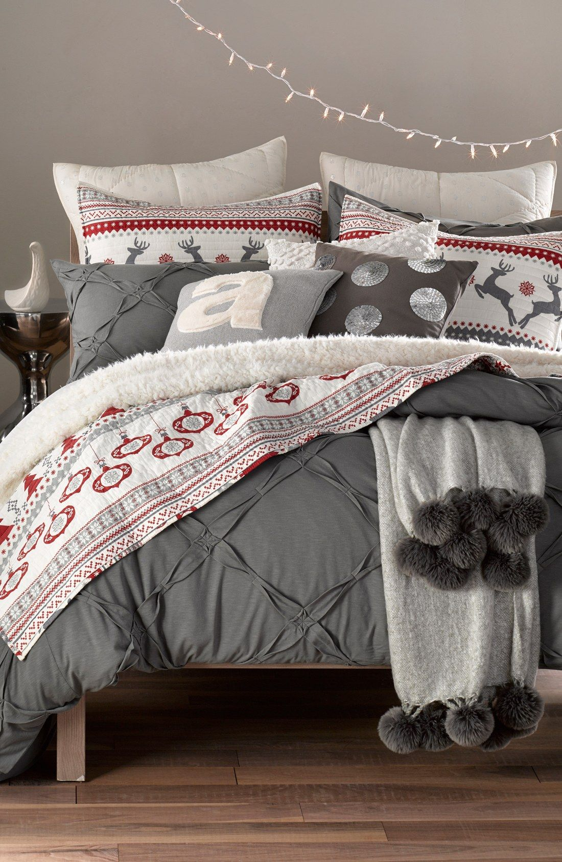 Nordstrom At Home Brushed Throw With Pompoms | Nordstrom