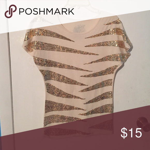 Top Cream Color Top With Gold Sequin Stripes Fits Tight