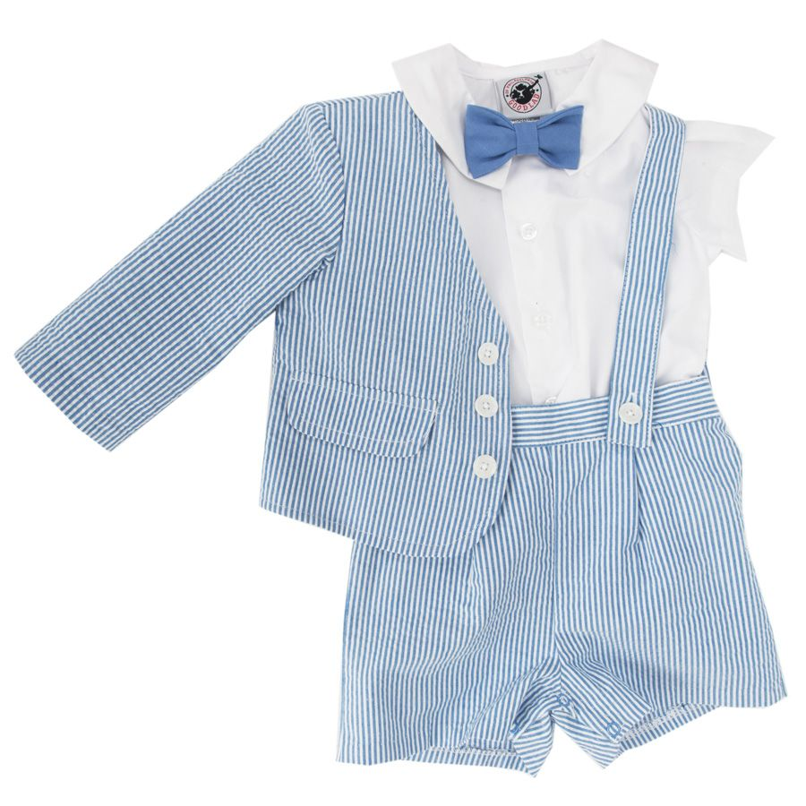 Good Lad Of Philadelphia Infant Boy Seersucker Eton Suit