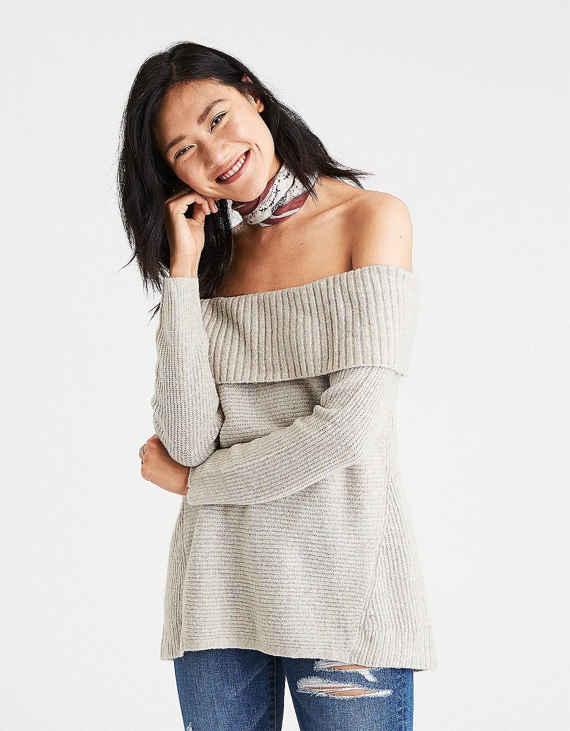 4bfcd4f951b585 Off shoulder sweater