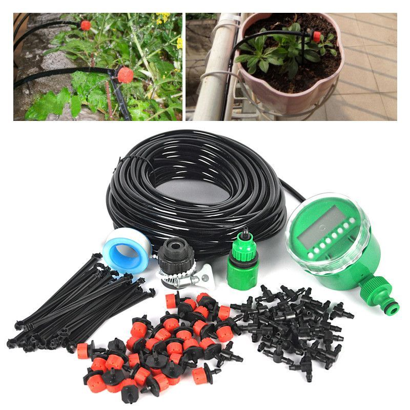 25m DIY Micro Drip Irrigation System Plant Automatic Self Watering