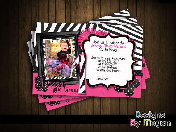 Cute Custom Zebra Print Invitation w/ or without by MeganSCruse, $10.00