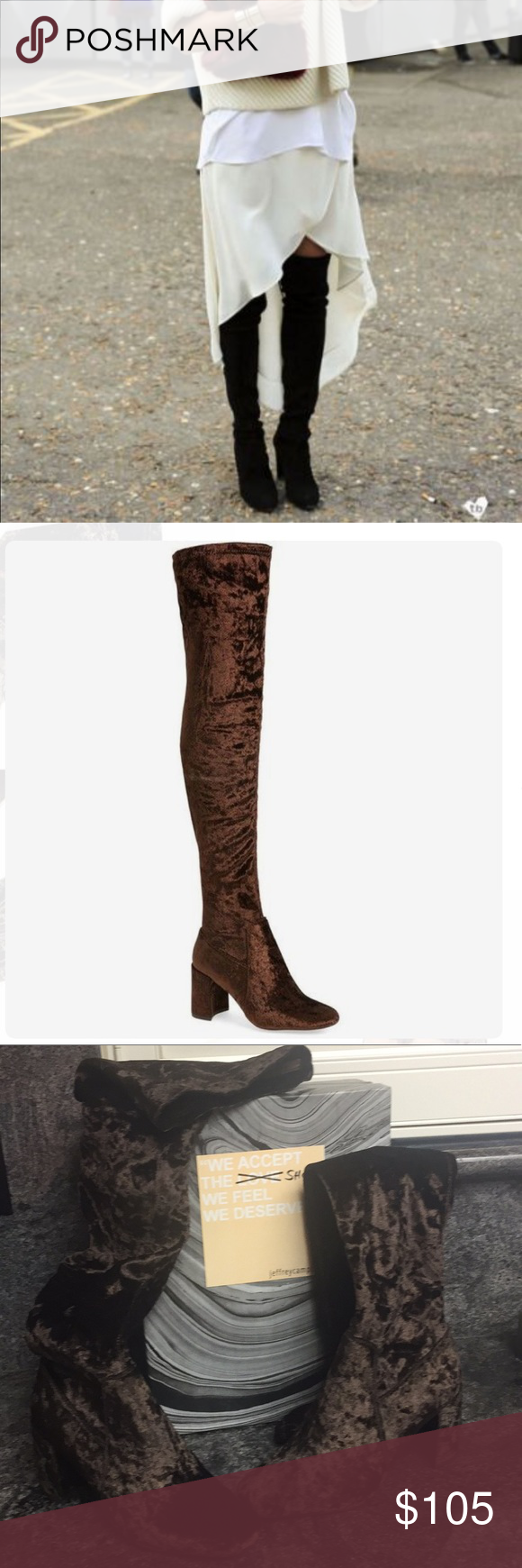 188853a1aa8 Jeffrey Campbell Crushed Velvet Over Knee Boots Jeffrey Campbell Cienega  Crushed Velvet Over The Knee Boots New with box Color  Brown Size  8 A  square toe ...