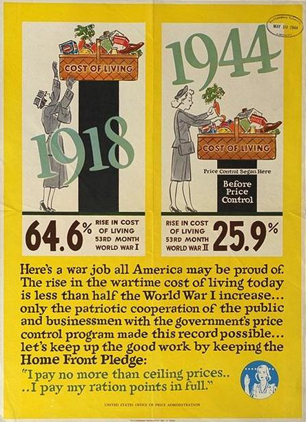 WWI Vs WWII Cost Of Living Poster, 1944. Office Of Price Administration.