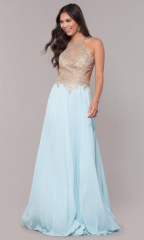 Long V-Neck Open-Back Chiffon Prom Dress by PromGirl