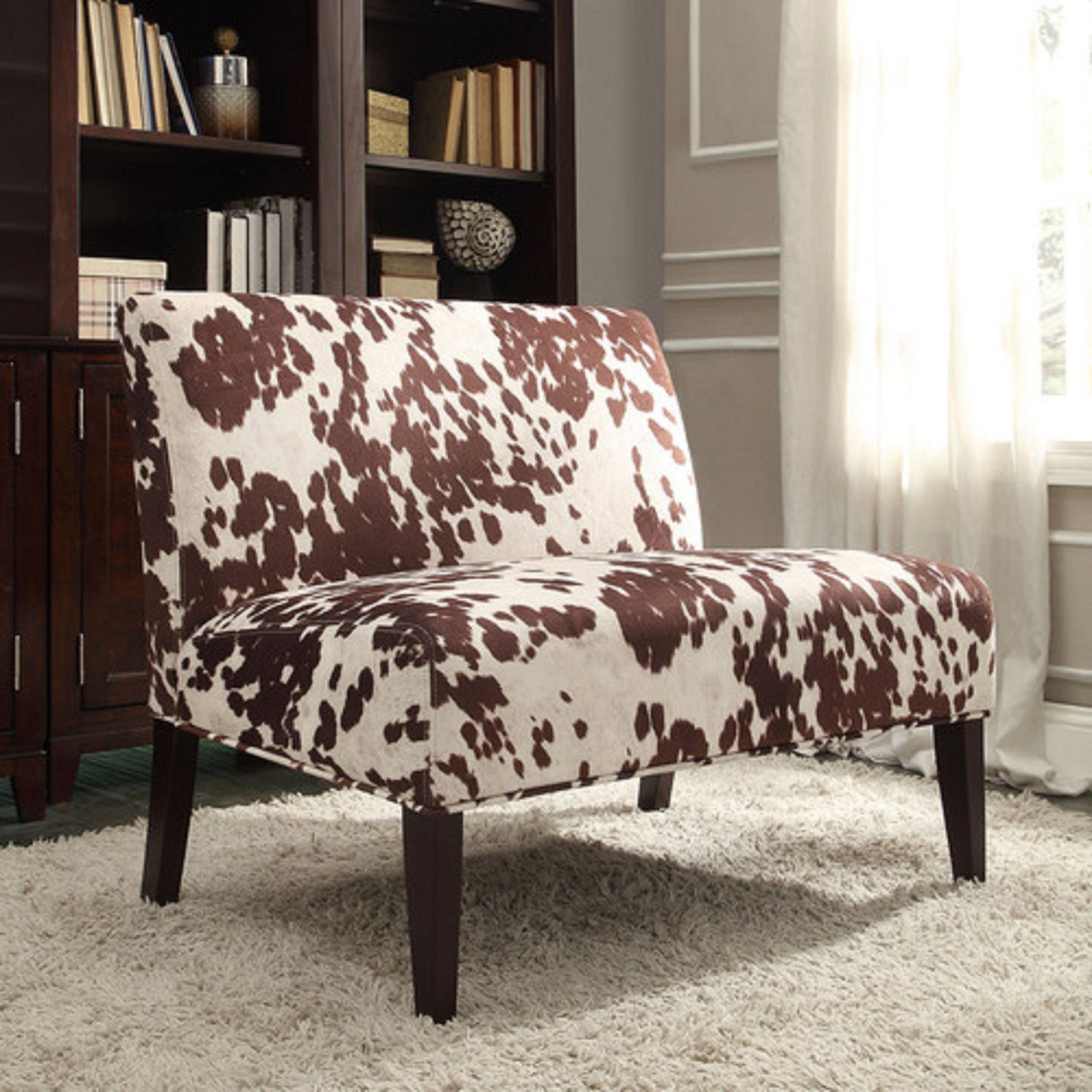 Brown Cow Hide Print Furniture Fabric Accent Loveseat love