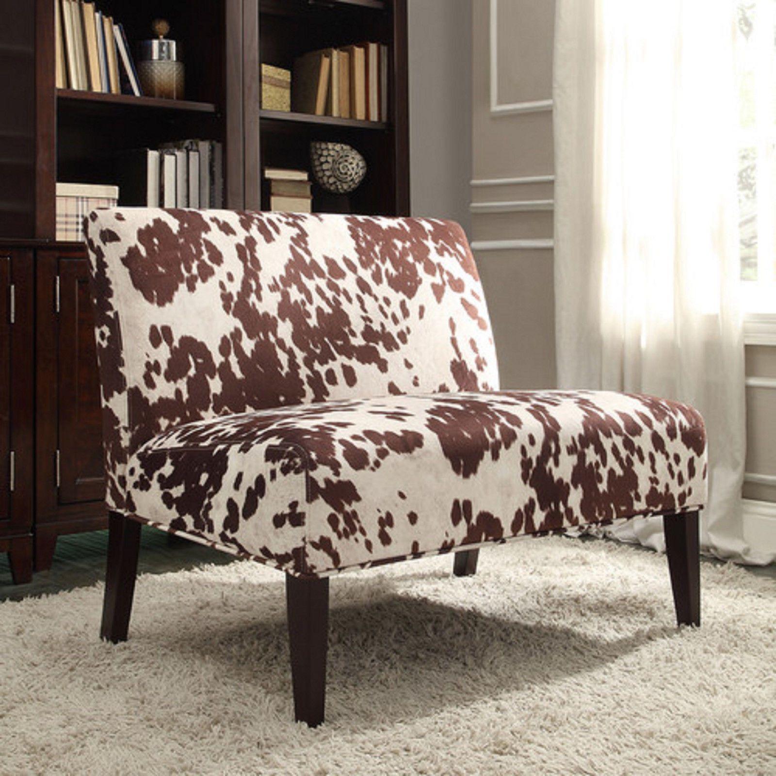 Cowhide Print Accent Chair Black Covers Bulk Brown Cow Hide Furniture Fabric Loveseat Love