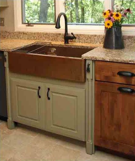 I Like The Idea Of Painting The Sink Base An Accent Color Copper Kitchen Sink Farmhouse Farmhouse Kitchen Inspiration Copper Kitchen Sink