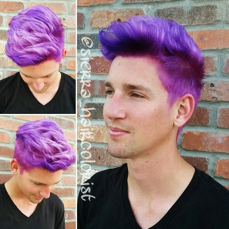 purple hair. men's hair color