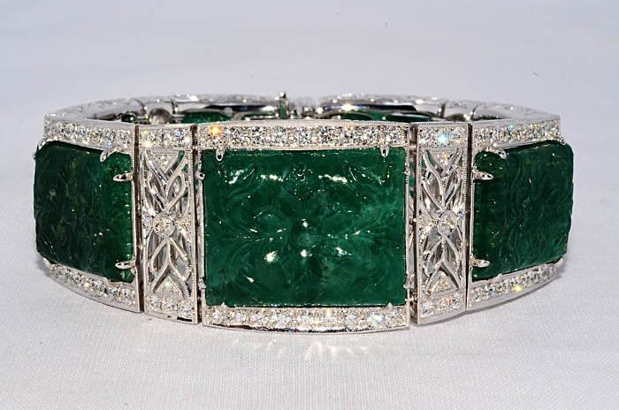 $180,000 233.59Ct Natural Hand Carved Emerald & Diamond Bracelet VVS 18K WG in Jewelry & Watches, Fine Jewelry, Fine Bracelets | eBay