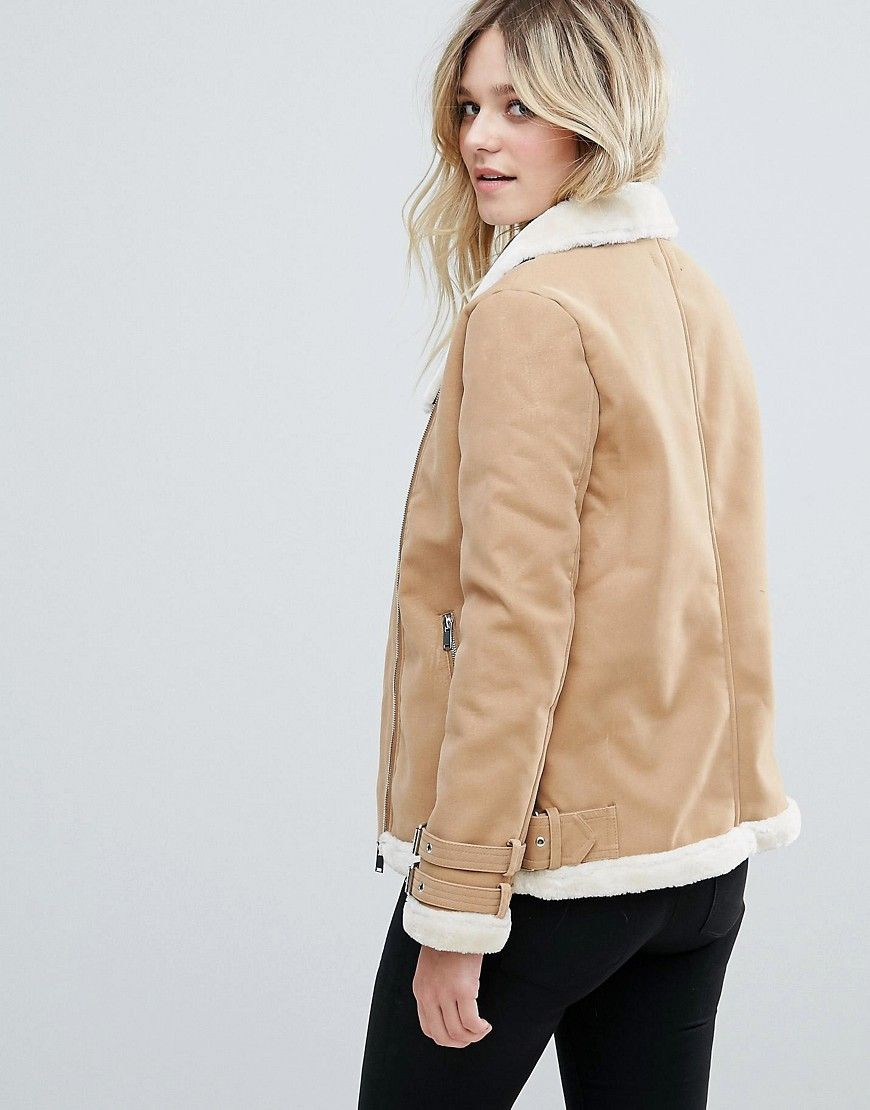 ce4c72dbf Missguided Faux Fur Lined Aviator Jacket Camel   Products   Aviator ...
