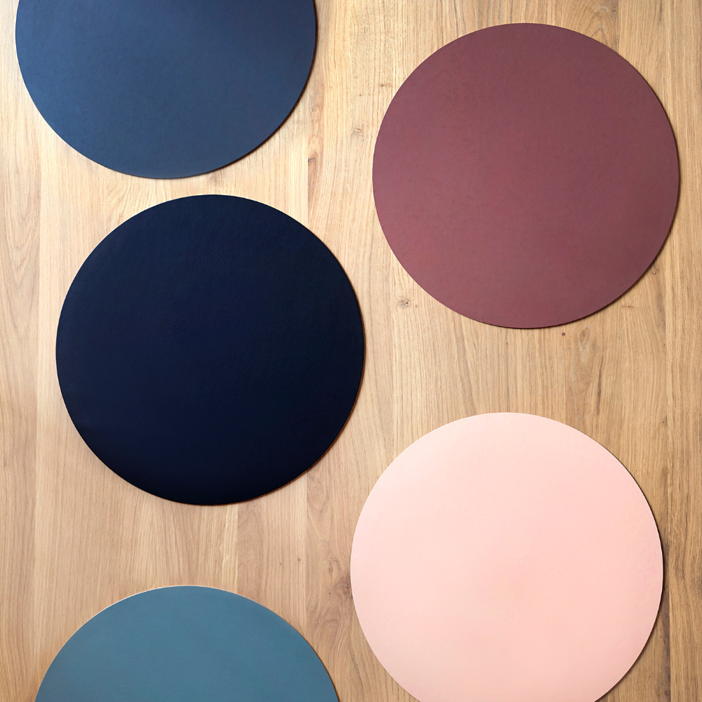 Dot Charcoal Round Leather Placemat Round Leather Recycled Leather Leather Industry