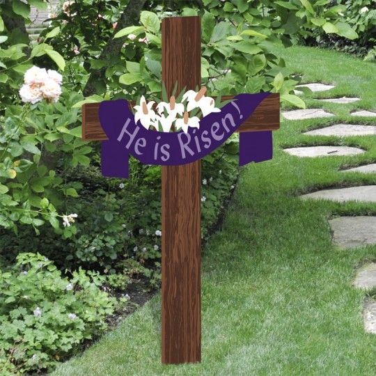 He Is Risen Easter Yard Cross Easter Decorations Outdoor Easter Outdoor Easter Yard Decorations
