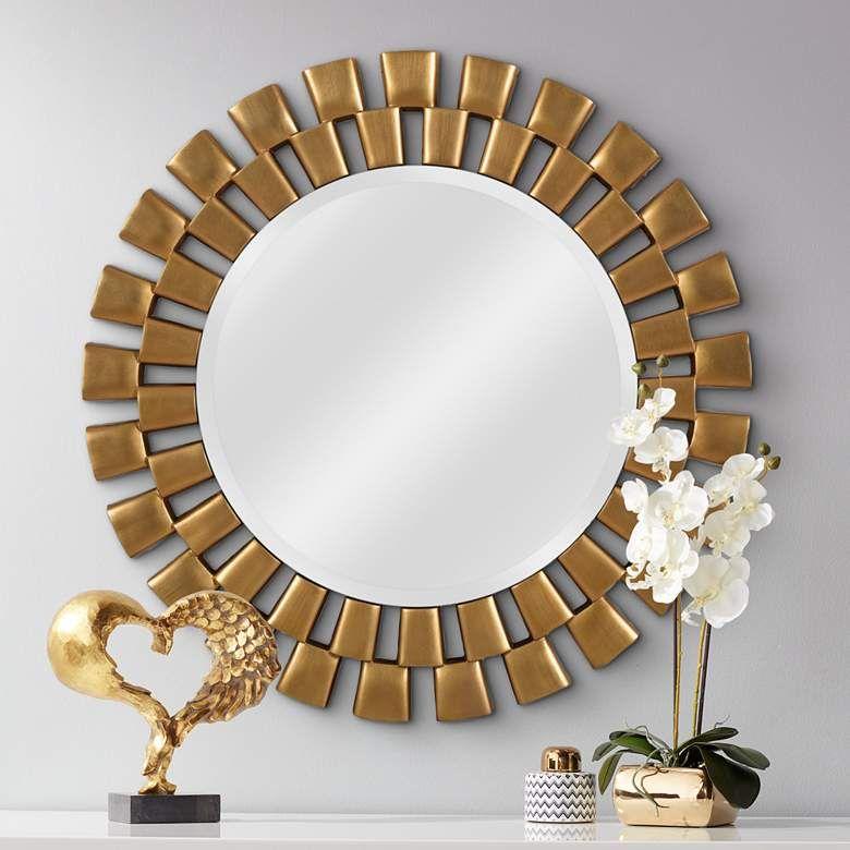 Kenroy Home Gilbert Gold 36 Round Wall Mirror 62f05 Lamps Plus In 2021 Round Wall Mirror Mirror Wall Round Mirror Decor 36 inch round mirror