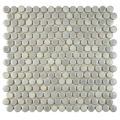 Merola Tile Hudson Penny Round Grey Eye 12 In X 5 8 Mm Porcelain Mosaic Fkompr12 The Home Depot
