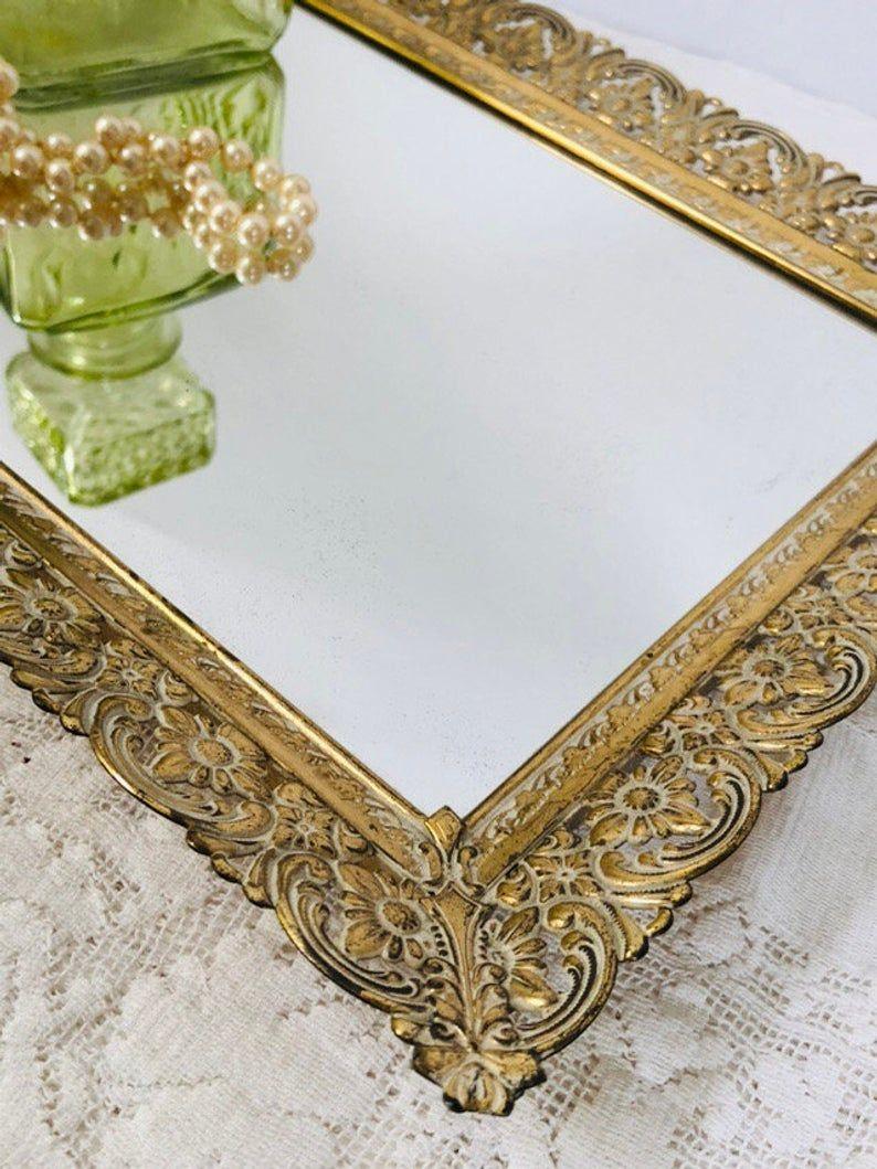 Vanity Mirror Tray Vintage Filigree Metal Ornate Wall Hanging Table Top Mirror Vintage Vanity Mirror Mirror Tray Vintage Vanity