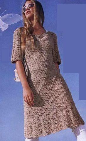 вязаное спицами платье схемы