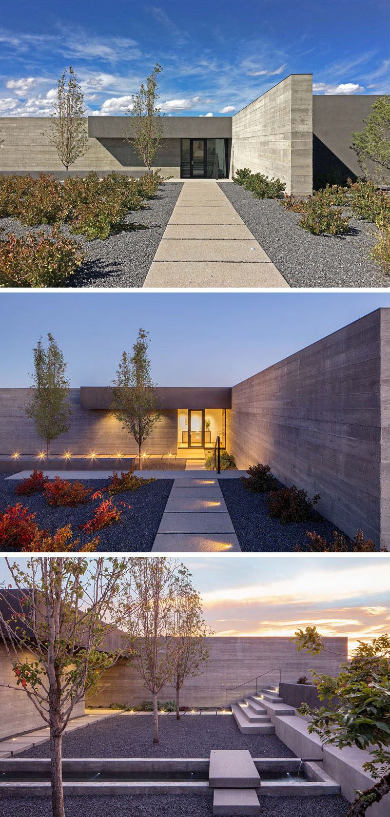 This modern landscaping includes a path thats lit up at night and a recessed courtyard with a simple water feature