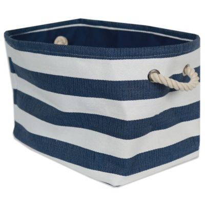 Striped Medium Sized Storage Bin In Seaside Blue White
