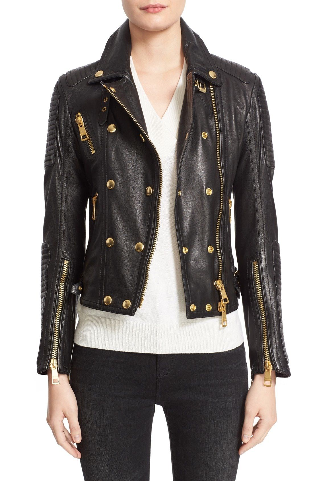 Burberry Brit Colefield Double Breasted Leather Jacket Nordstrom Deri Ceket Deri Manto [ 1687 x 1100 Pixel ]
