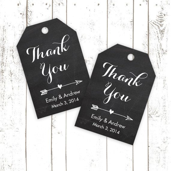Chalkboard Wedding Tags, Printable Wedding, Favor Tags, Personalized Thank You Tags with Arrow and Heart on Etsy, $10.00