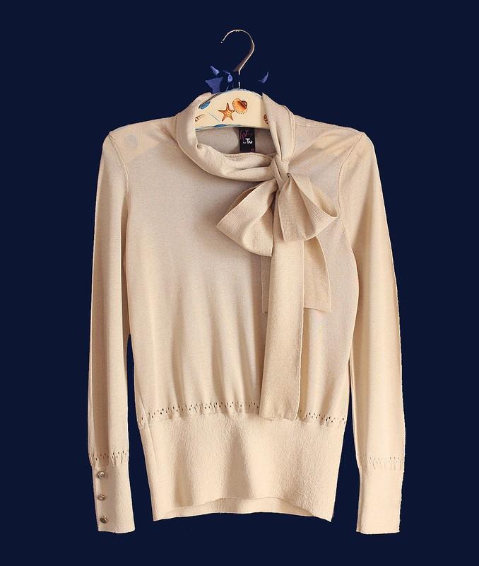 Zlota Bezowa Elegancka Bluzka Z Kokarda Gok For Tu 36 38 S M Fashion Pullover Sweaters
