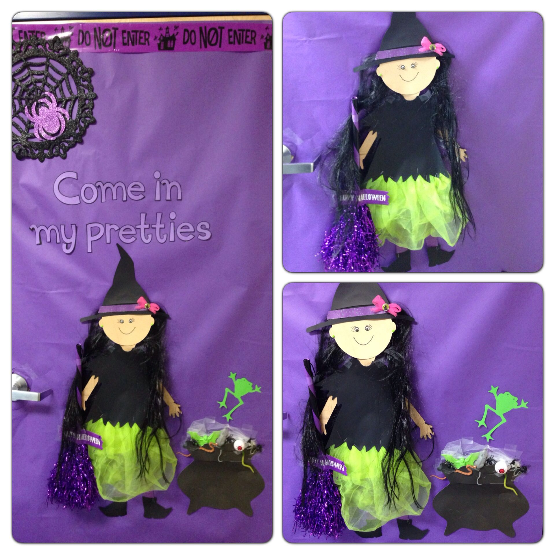 Halloween class door. Cut witch, caldron and frog on Cricut using paper dolls cartridge. Bought tulle skirt, hair and broom from the dollar store. Hot glued in caldron plastic snakes, rat, lizard, eye ball and spiders. Cut lettering on Cricut. - Tanya Price