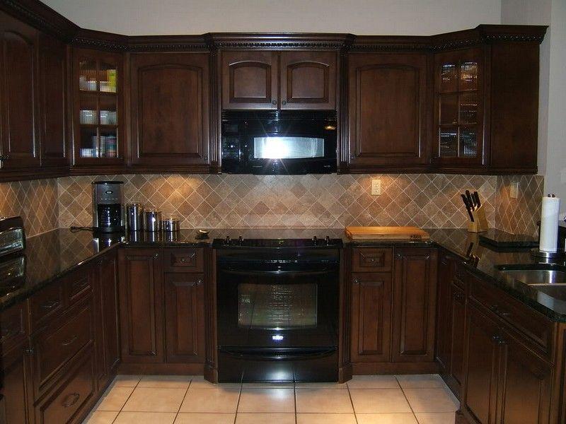 Cherry Cabinets Black Granite Kitchens Google Search Black Appliances Kitchen Brown Kitchen Cabinets Espresso Kitchen Cabinets