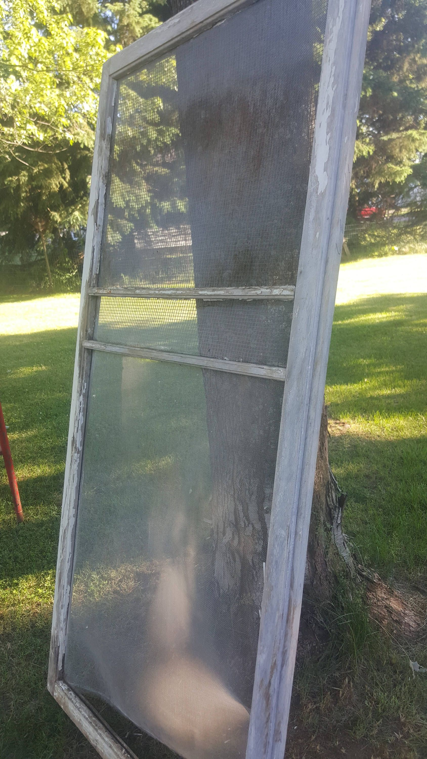 Vintage Wood Screen Window, Three Pane Window, Old Screen Window ...