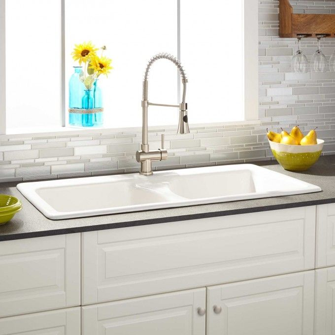43  Selkirk White Double-Bowl Cast Iron Drop-in Kitchen Sink - Kitchen  sc 1 st  Pinterest & 43