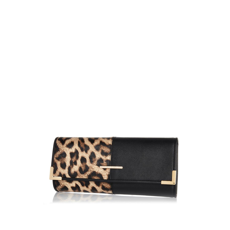 Beige leopard print split front clutch bag - clutch bags - bags / purses - women