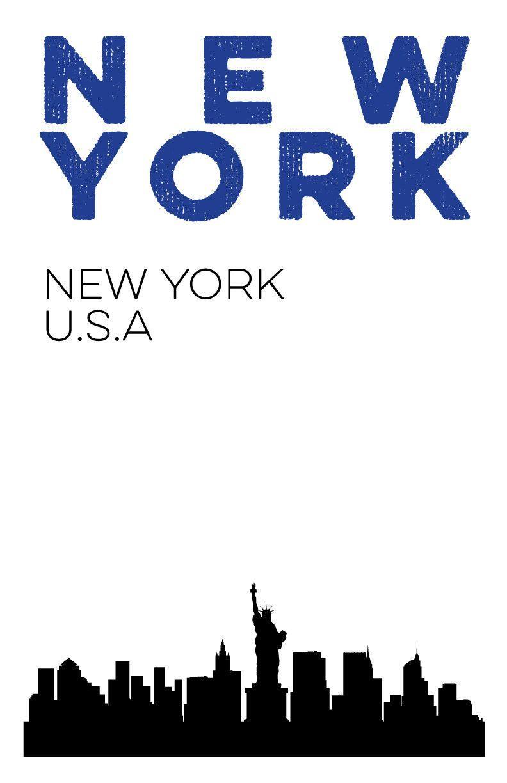 digital print version of new york skyline print nyc city poster 11x1 rivertowninkery craft. Black Bedroom Furniture Sets. Home Design Ideas
