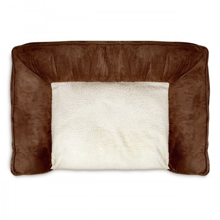 Memory Foam Pet Bed Lounger Large Dog Beds Microfiber Soft Fleece Sherpa Brown  #AnimalPlanet
