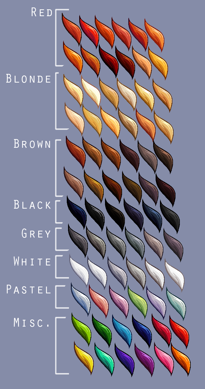 Hair Colour Swatches Supreme By Lizalot On Deviantart Hair Color Swatches Palette Art Color Palette Challenge