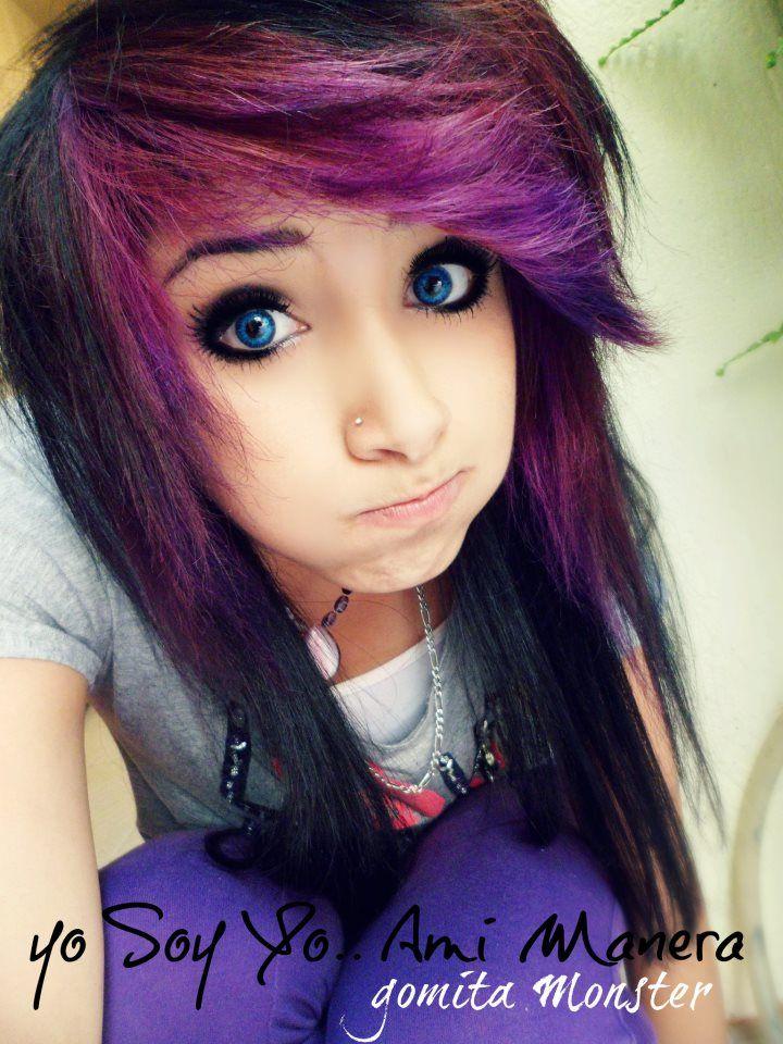 Dark black and purple scene hair