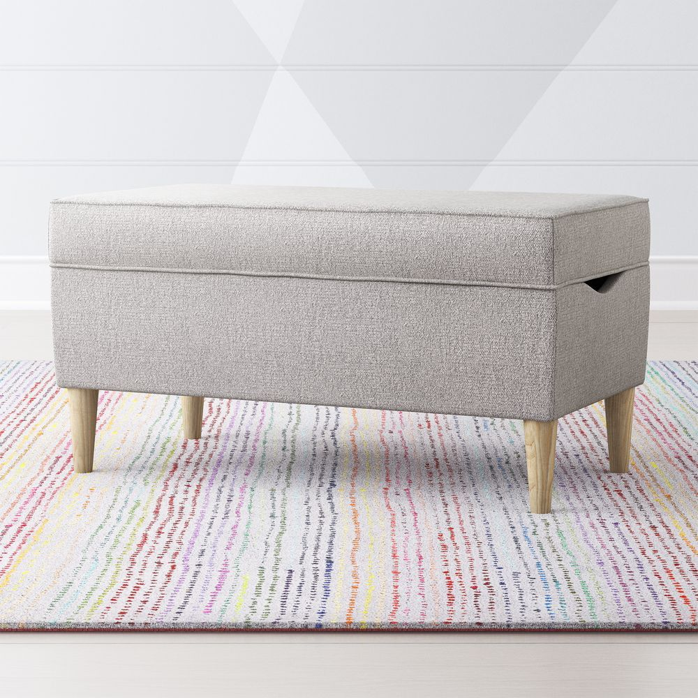 As You Wish Light Grey Upholstered Storage Bench Crate And