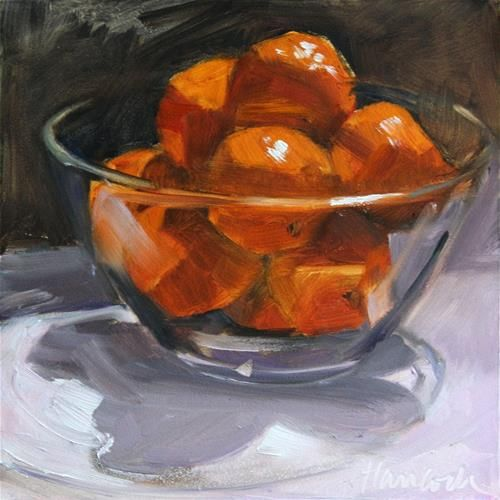 "Daily Paintworks - ""Glass Bowl with Clementines"" - Original Fine Art for Sale - © Gretchen Hancock"