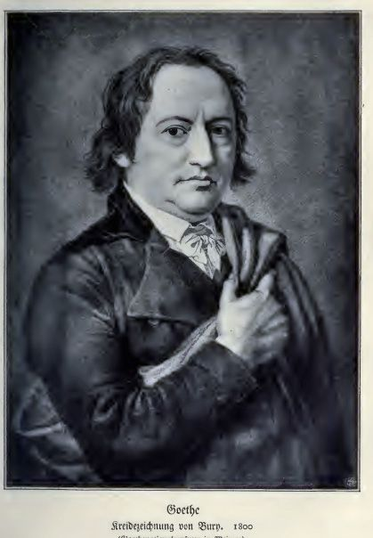 Krijttekening van Goethe rond 1800