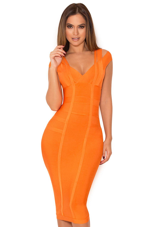 9997e18989 Clothing   Bandage Dresses    Mimi  Orange Off Shoulder Bandage Dress