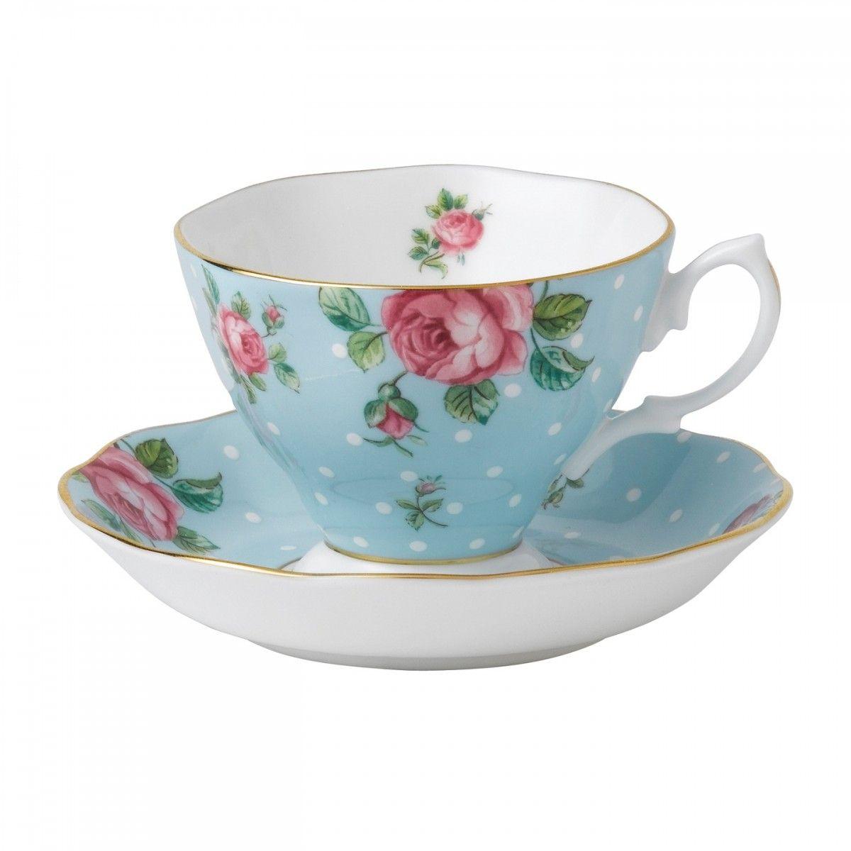 Royal Albert New Country Roses Polka Blue Vintage Formal Teacup Saucer Boxed Set