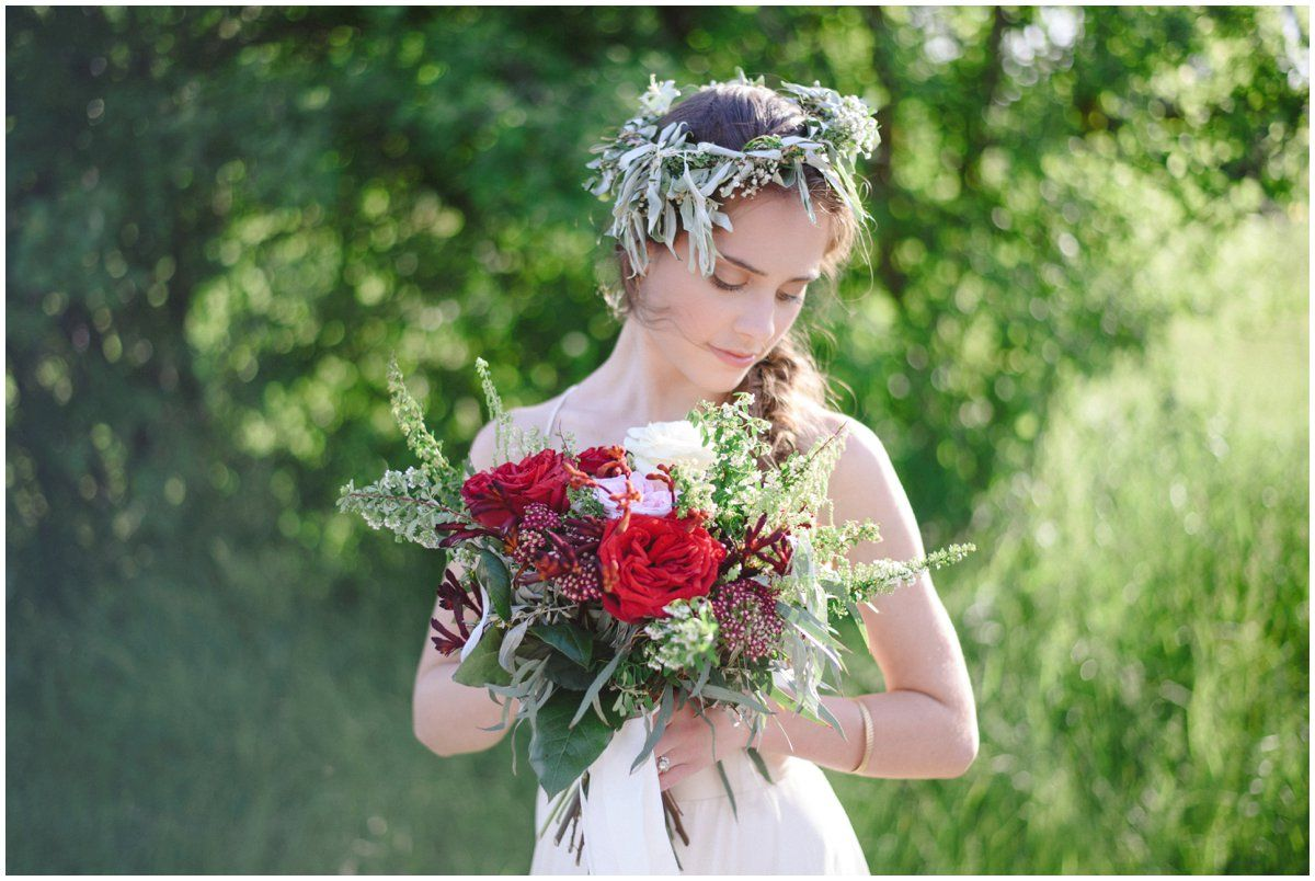 Makeup for sage green dress  Autumn Red boho bouquet by Rylea Blooms Photo by Arynn Photography